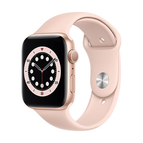 Apple Watch Series 6 GPS, 44mm Gold Aluminium Case with Pink Sand Sport Band - Regular