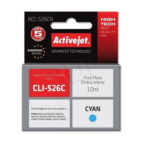 Atrament ActiveJet pre Canon CLI-526C Cyan 10ml s chipom