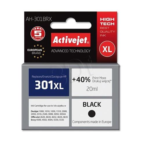 Atrament ActiveJet pre HP AH-301BRX (AH-563) Black (HP 301XL CH563EE) 20ml