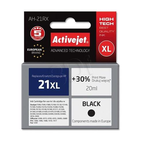 Atrament ActiveJet pre HP C9351 no.21 XL Black 20ml ref./HP 21 XL 12ml/