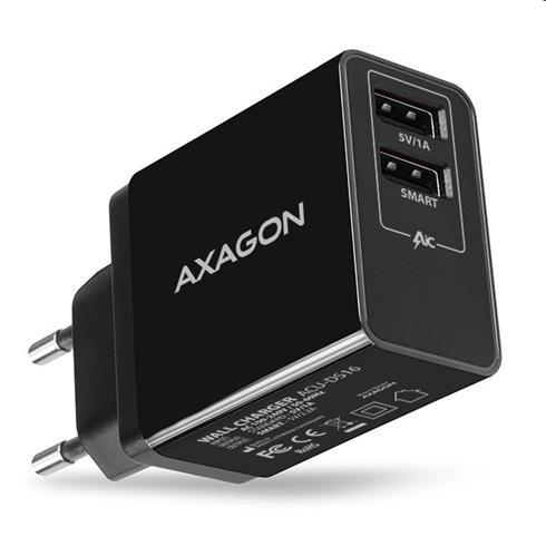 AXAGON ACU-DS16 wall charger, 2x 5V-2.2A + 1A, 16W, black