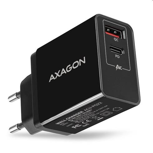 AXAGON ACU-PQ22 wall charger QC3.0/AFC/FCP + PD type-C, 22W, black
