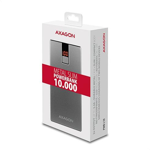 AXAGON PWB-L10 ALU Power Bank Li-Pol 10000mAh 2A IN/2,4A OUT, LCD
