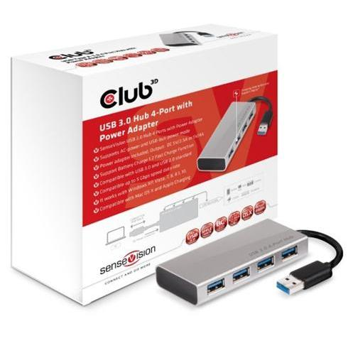 Club 3D USB 3.1 4-Port Hub with Power Adapter