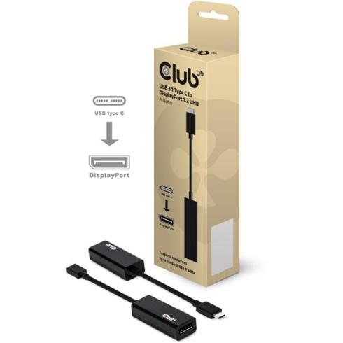 Club 3D USB 3.1 Type C to DisplayPort 1.2 4K60HD UHD Active Adapter