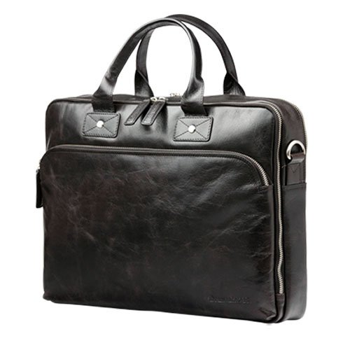 "dbramante1928 Leather business bag Kronborg to 16"" - Black"