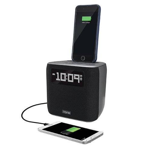 iHome Dual Alarm FM Clock Radio with Lightning Connector - Gunmetal