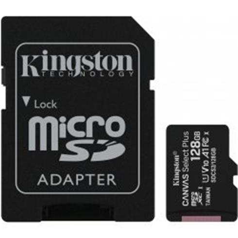 Kingston 128GB microSDHC Canvas Select Plus A1 CL10 100MB/s s adapterom