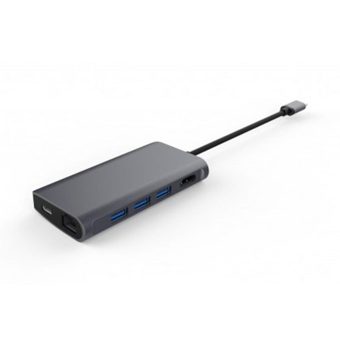 LMP USB-C mini Dock 8-port - Space Gray Aluminium