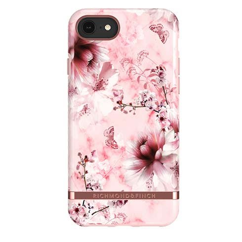 Richmond & Finch kryt Pink Marble Floral pre iPhone 6/7/8/SE 2020 - Rosé Gold Details