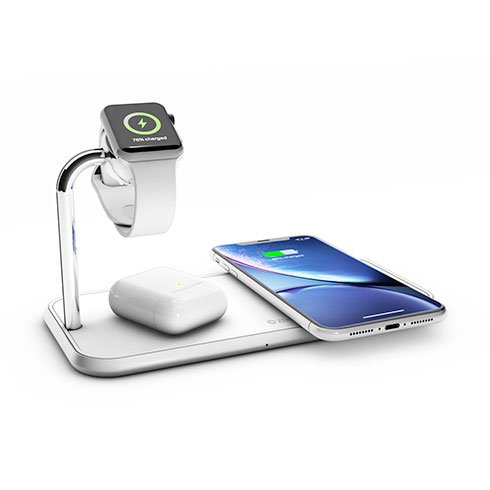 ZENS Aluminium Dual Wireless Charger + Watch 10W - White